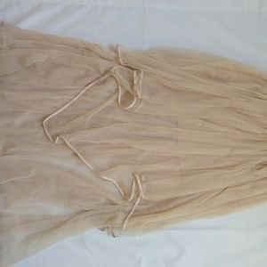 Free People long nude tulle flowy shell skirt
